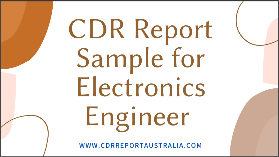 CDR Report Sample for Electronics Engineer