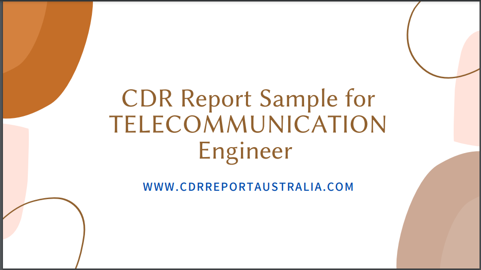 CDR Report Sample for Telecommunication Engineer